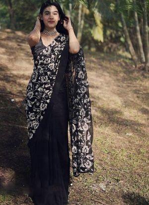 Black Faux Georgette Thread Work Saree