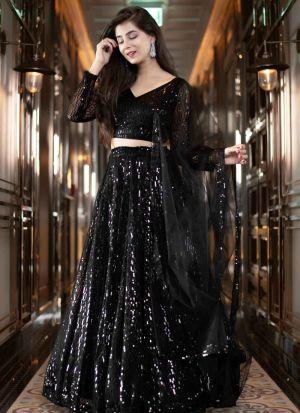 Black Georgette Party Wear Lehenga Choli