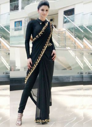 Black Georgette Saree With Embroidery Lace Border