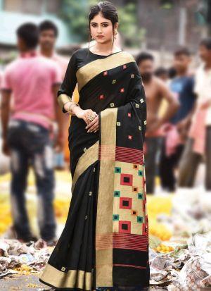 Black Handloom Cotton Festive Wear Classy Saree