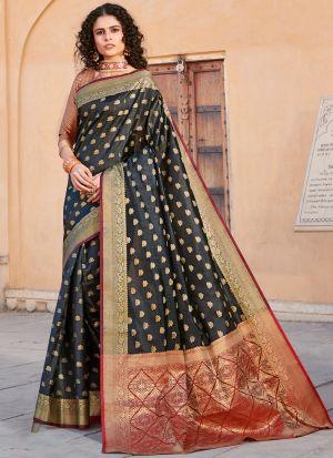 Black Handloom Silk Indian Traditional Saree