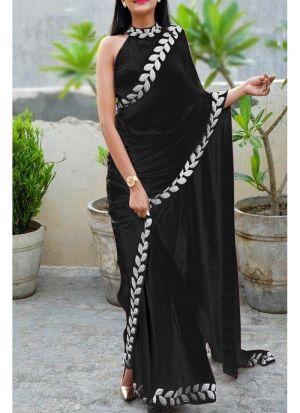 Black Heavy Embroidery Lace Border Vichitra Silk Designer Saree