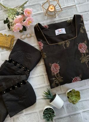 Black Heavy Organza Flower Printed Salwar Suit