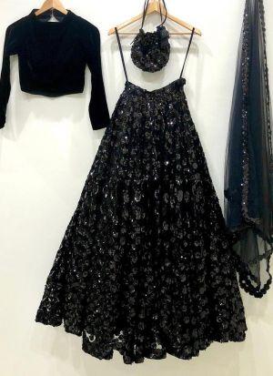 Black Heavy Velvet Party Wear Lehenga Choli