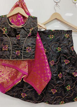 Black Kit Kat Silk Kids Wedding Wear Lehenga Choli