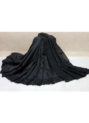 Black Makhan Malai Silk Festive Wear Traditional Saree With Reniya Cutwork