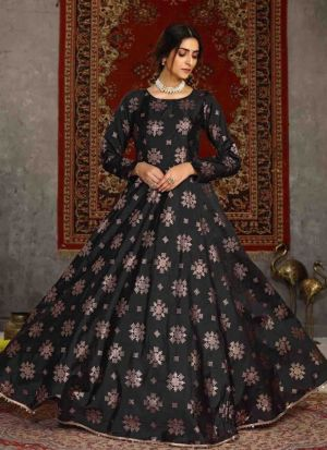 Black Metallic Foil Printed Gown