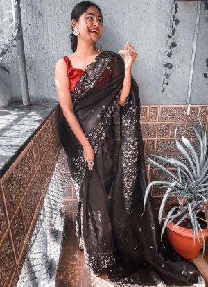 Black Multi Thread Work Saree