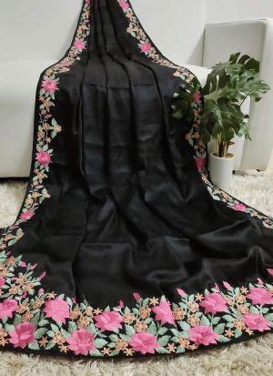 Black Mushroom Silk Multi Work Saree