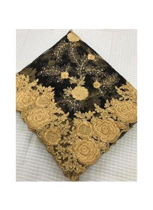 Black Net Heavy Embroidery Diamond Work Saree