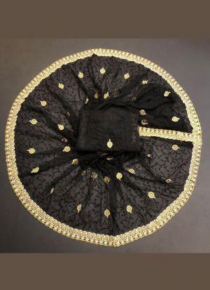 Black Net Zari Embroidered Saree