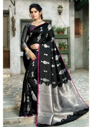 Black Paper Silk Festive Wear Traditional Saree