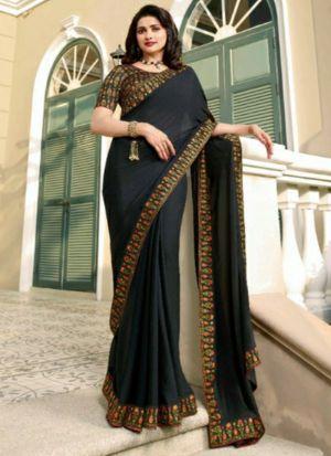 Black Printed Vichitra Silk Designer Saree