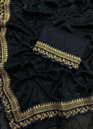 Black Rangoli Silk Sequence Saree