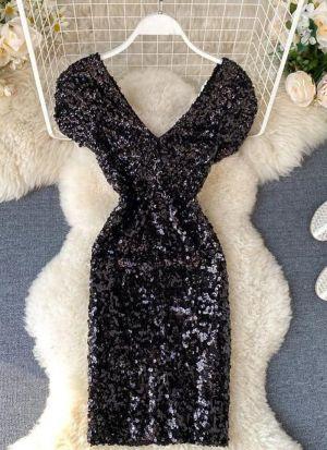 Black Sequence Work Velvet Dress