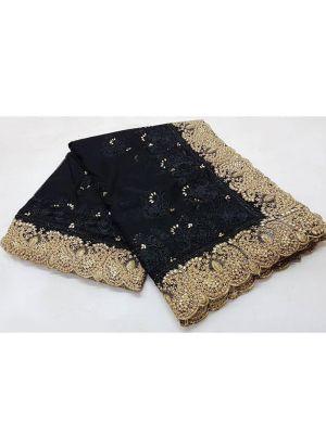 Black Soft Net Festive Wear Traditional Saree With Pandadi Shining Stone Ceramic Moti Work