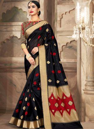 Black South Indian Cotton Handloom Saree For Wedding