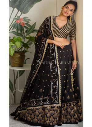 Black Tafetta Silk Sequnce Lehenga Choli With Mono Net Dupatta