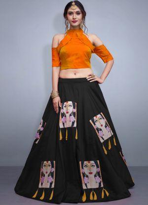 Black Tafetta Silk Volume 8 Bride Maids Indian Lehenga Choli