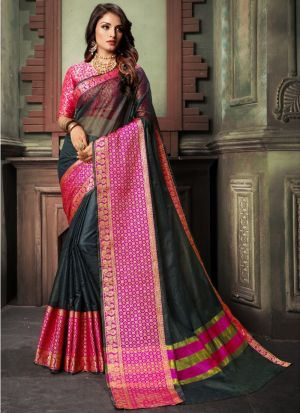 Black Traditional Wear Saree In Kota Doria Checks Fabric