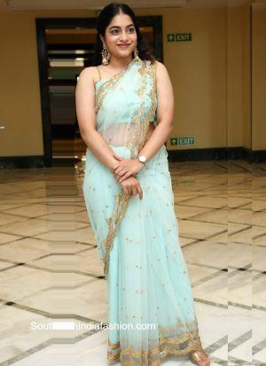 Celebrity Style Sky Blue Naylon Net Beautiful Zari Work Saree