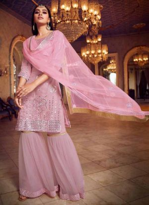 Blissful Baby Pink Salwar Suit With Net Dupatta