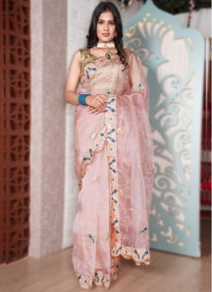 Blissful Peach Coding Work Party Wear Saree