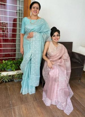 Blissful Sky Blue Embroidered Silk Saree