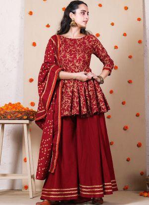 Blood Red Digital Printed Sharara Suit
