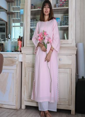 Blooming Baby Pink Cotton Kurti With Pants