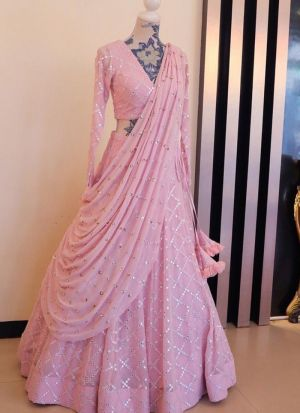 Blooming Baby Pink Embroidered Tafetta Silk Lehenga Choli