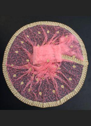 Blooming Baby Pink Net Saree