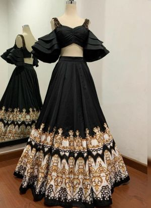 Blooming Black Taffeta Silk Wedding Wear Lehenga Choli