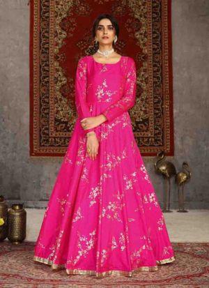 Blooming Deep Pink Taffeta Gown