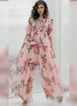 Blooming Peach Georgette Palazzo Style Salwar Suit