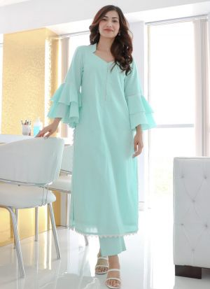 Blooming Sky Blue Cotton Kurti With Pants