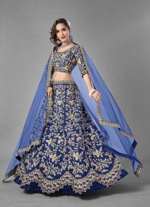 Blue Art Silk Sequence Lehenga Choli