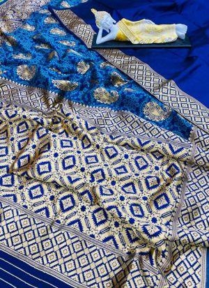 Blue Banarasi Silk Jacquard Saree
