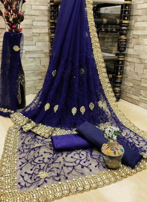 Blue Banglori Silk Zari Work Saree