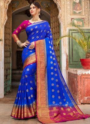 Blue Color South Indian Naylon Silk Saree