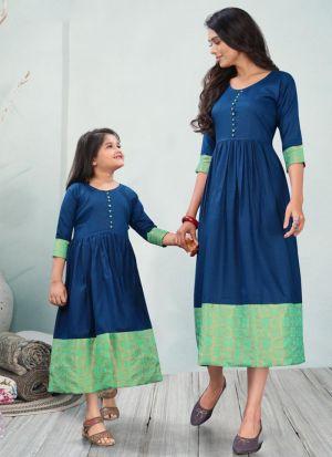 Blue Cotton Mother Daughter Kurti