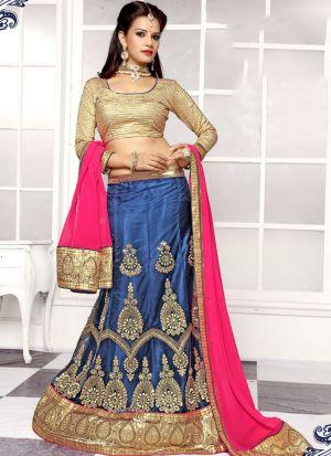 Blue Designer Wedding Lehenga Choli With Viscose Fabric
