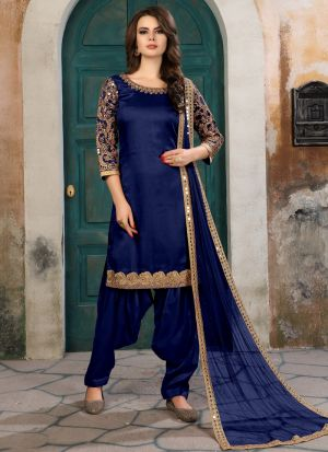 Blue Embroidered Aanaya New Designer Suit