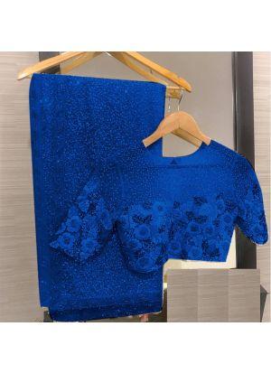 Blue Georgette Bamberg Latest Designer Saree
