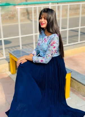 Blue Georgette Printed Indian Gown