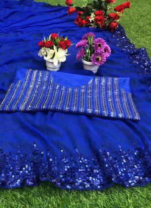 Blue Georgette Sequence Work Saree