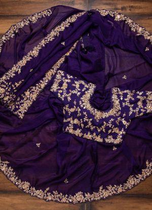 Purple Georgette Wedding Wear Saree