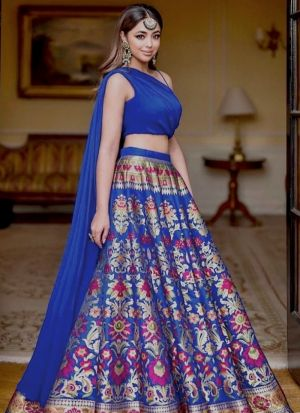 Blue Gota Satin Digital Print Wedding Wear Lehenga Choli