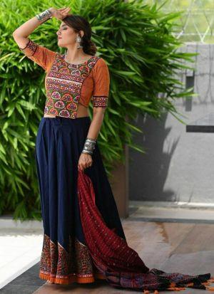 Blue Italian Silk Navratri Wear Lehenga Choli