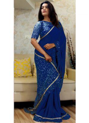 Blue Paper Silk Naylon Net Indian Designer Saree With Blouse Piece